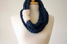 Scarf, Cowl, Infinity Scarf, Neck Warmer, Circle Scarf (xtra long chain scarf in denim and snow white). $48.00, via Etsy.