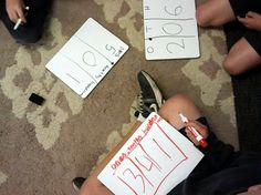 Place value game with decimals.
