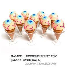 UAMOU x REFRESHMENT TOY [MANY EYES EXPO]限定カラーの目玉アイスクリーム☆目玉部分は蓄光です✨ イベントは昨日で終了しました!ご来場頂きました皆様、ありがとうございました☺️ #uamou #refreshmenttoy #sofubi #customtoy