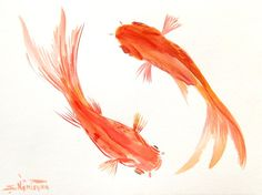 Goldfish Original watercolor painting 9 X 12 in by ORIGINALONLY, $26.00