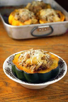 acron squash stuffed with sausage and cornbread.  I'm going to use turkey sausage and lowfat cheese.