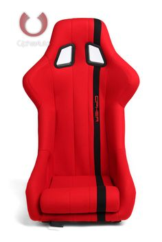 CPA1008 All Red Fabric W/ Black Stripe Cipher Auto Full Bucket Racing Seat - Fiber Glass - Single