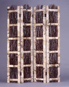 """Birch Screen  $380.00    Birch bark with center birch twig 3 panel privacy screen. The birch and twig design is on the front only.   69"""" H x 48"""" W"""