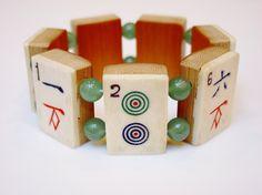 Mah Jong Tile Bracelet / Vintage / Bone and Bamboo / Dovetailed / Hand-carved / OOAK / 1930s / Mah-Jong / Mahjong / Mah-Jongg / Mah Jongg by minxandmaven on Etsy