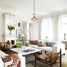 Eclectic, yet elegant living room in Sweden// via @skonahem