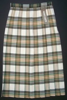 Kerry Hope Vintage Glenmore Green Plaid Pleated Wool Skirt-Womens-Sz 8   NWT #KerryHope #Pleated