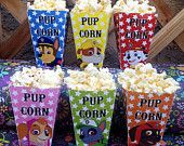 "Paw Patrol Party Favors- Printable Popcorn Boxes! ALL SIX Pups included! ""Pup Corn"" Box"