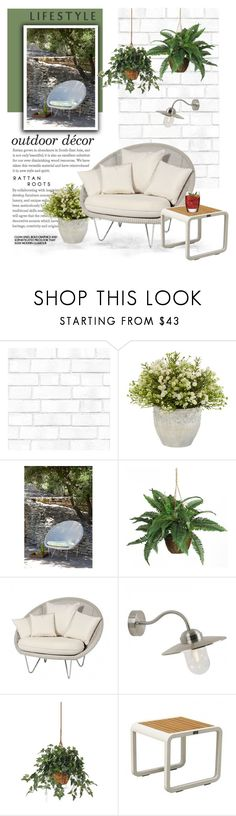 """Outdoor Living"" by viva-12 ❤ liked on Polyvore featuring interior, interiors, interior design, home, home decor, interior decorating, Tempaper, Gipsy, Nearly Natural and WALL"