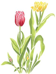 Designer Stencils, Home Décor, Double Tulip