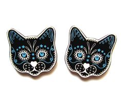 Sugar Skull Style Black Cat Earrings by Dolly Cool Kitty Day of the Dead