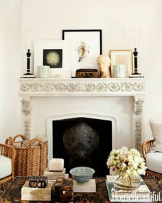 fireplace mantel decor photo-Amy Neunsinger-mark-d-sikes-hbx-carved-fireplace-1211-de