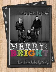 Chalkboard Merry & Bright Digital Personalized Photo Christmas Card