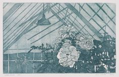Glass House Etching Print by williamwhiteart on Etsy, $80.00