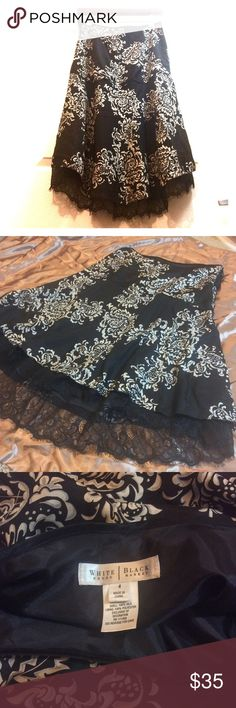 WHBM Silk & Lace Lined Flowy Skirt——Elegant ✅ Gorgeous like new condition. Looks brand new. It's slightly too big on me (I can almost get away with it cause it's so flowy)&thought about having it tailored but it's too late & this princess deserves a new home🤪. I know whoever buys this will adore it. It reaches a whole new level when you try it on it. You'll see what i mean🤩. I think this runs more like a size 6. I have measurements& will post when I find my notepad. But if you're…