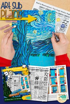 """Teach your students about line variety while studying Vincent Van Gogh and his famous """"Starry Night"""" painting. This art lesson is great for kids in 3rd grade and up and takes two, 40 minutes periods to complete. The best part? It's created with a roll of the dice. Come see for yourself! 