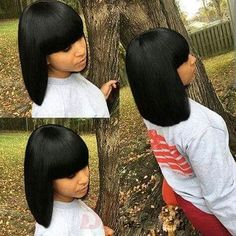 Fashion short bob wig with bangs do you like this feature?#bob #bangs #bobhaircut #cocoblackhair Coco Black Hair provide the most natural looking hair and wigs Change yourself today!