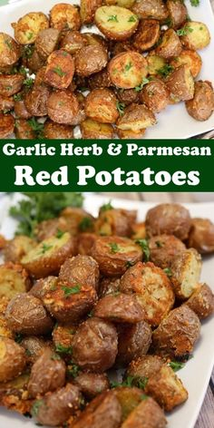 Garlic Herb and Parmesan Roasted Red Potatoes are the perfect side dish. Crispy on the outside and tender on the inside, it's our favourite. Red Potatoes Oven, Small Potatoes Recipe, Roasted Potatoes And Carrots, Carrots Oven, Best Oven Baked Potatoes, Potatoes On The Stove, Garlic Parmesan Roasted Potatoes, Grilled Red Potatoes, Roasted Potatoes And Onions