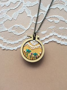 Hand Embroidered Mini Embroidery Hoop Necklace Featuring Vintage Lace: Mustard by PlaidLoveThreads on Etsy