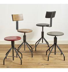 Industrial Chair Stool Ebonized Oak