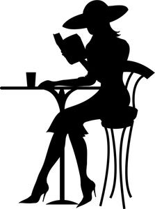 Reading Clipart Image: Silhouette of a Classy, Well-Dressed Woman Reading a Book at a Table at an Outdoor Café