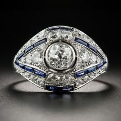 Art Deco .75 Carat Diamond and Synthetic Sapphire Ring