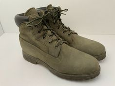 Vintage Timberland Boots Premium Nubuck Waterproof Ankle Women's 10 US Olive Timberland Earthkeepers, Timberland 6, S 10, Timberlands Women, Shoe Boots, Women's Shoes, Vintage Advertisements, Wedge Heels, Olive Green