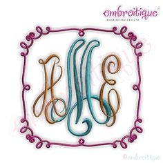 Whimsical Curly Doodle Font Frame - 11 Sizes! | Font Frames | Machine Embroidery Designs | SWAKembroidery.com Embroitique