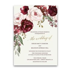 Fall Wedding Invitations Burgundy Wine Gold Blush Floral. A collection of blush, burgundy, marsala and wine watercolor florals set the stage for a love.