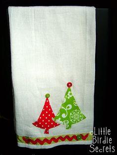christmas applique tea towels | Little Birdie Secrets