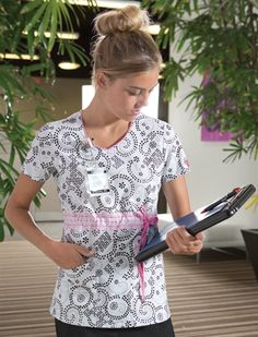 New Fashion Print for Spring--For YOur Eyelets Only has Pink Opal contrast and coordinates with Black, Pink Opal and Dickies White pants. Fashion Prints, New Fashion, Uniform Advantage, Medical Uniforms, Nurse Life, Scrub Tops, Pink Opal, White Pants, Fashionable Scrubs