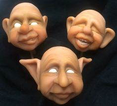Second step, makeup and baked. Hand sculpted polymer clay. Artist Leslie Umstead