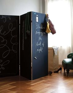 Chalkboard Room Divider: Double the fun! A chalkboard room divider is a super easy project and one we think would go really well in a nursery that also doubles as a home office — or in any other space in your home you want to divide. You can draw fun little doodles on one side and keep track of your to-do list on the other. Source: Eco-Chic Home
