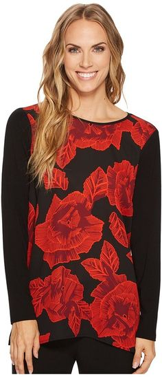 Vince Camuto - Long Sleeve Wood Block Floral Mix Media Top Women's Clothing Fashion To Figure, Mix Media, Vince Camuto, Women's Clothing, Clothes For Women, Wood, Long Sleeve, Floral, Womens Fashion