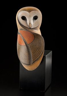"""Barn Owl by Rex Homan, Māori artist (KR121006). How beautiful! Captures how I see the """"essence of owl"""" so perfectly."""