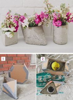 DIY Cement Centerpieces | Click Pic for 26 DIY Wedding Centerpieces on a Budget | DIY Wedding Decorations for Outside