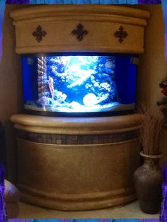 Custom Saltwater aquarium with artificial coral insert from aquamartonline in Lakewood, Co.         Love it!