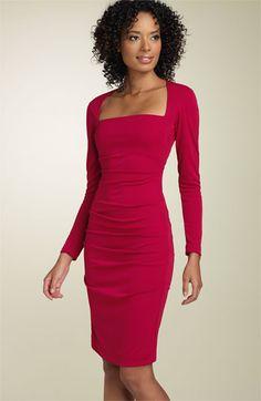 Nicole Miller Long Sleeve Matte Jersey Sheath Dress