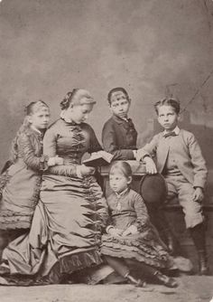 Princess Charlotte of Prussia (Middle) with siblings, Princess Sophie (left), Princess Victoria (Right), Princess Margaret (Sitting down) and Prince Waldemar. C 1878.