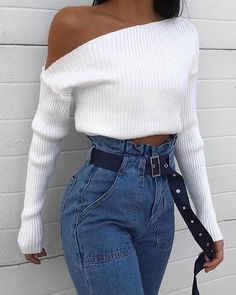 White One-Shoulder Knitted Top - Strickjacke Muster Mode Outfits, Trendy Outfits, Winter Outfits, Summer Outfits, Fashion Outfits, Fashion Clothes, 90s Style Outfits, Gray Outfits, Dress Outfits