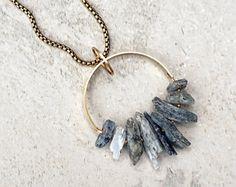 FARRAH / Blue Kyanite Spike Necklace, Raw Kyanite Stone Pendant, Modern Bohemian Necklace, Brass Circle, Natural Stone Jewelry, Gold Boho