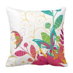 Butterflies and Flowers Outdoor Pillow Outdoor Throw Pillows, Decorative Throw Pillows, Butterflies, Flowers, Accent Pillows, Butterfly, Royal Icing Flowers, Flower, Decor Pillows