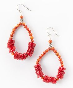 Look what I found on #zulily! Coral & Sterling Silver Beaded Teardrop Earrings by Barse #zulilyfinds