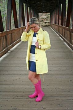 April Showers... New on Peaches in a Pod blog - pink hunters - yellow rain coat - navy and white stripes