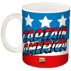 Marvel Captain America 11.5-oz. Mug by Zak Designs ($9.99) ❤ liked on Polyvore featuring home, kitchen & dining, drinkware, wizard of oz mug and porcelain mugs