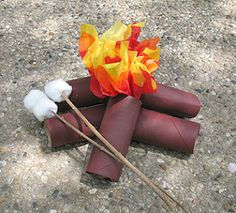 Made out of TP rolls, tissue paper, and cotton balls. Campfire and marshmallows! Great DIY for a kid's camping party. Camping Parties, Camping Theme, Camping Crafts, Camping Ideas, Rv Camping, Glamping, Camp Out Vbs, Camp Scout, Toilet Paper Rolls
