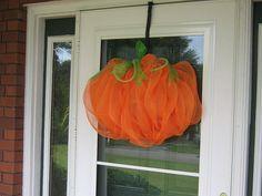 Pumpkin decor, FALL--October front door decor--Pumpkin mesh--deco mesh