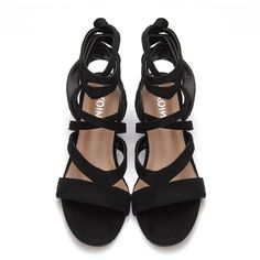 Yoins Black Cross Straps Tie Fastening Block Heel Sandals ($40) ❤ liked on Polyvore featuring shoes, sandals, block heel sandals, party sandals, strap sandals, party shoes and strappy sandals