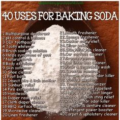 40 uses of baking soda-- we will probably have a few boxes of this hanging around the house, I would prefer to use natural cleaners like lemon, vinegar, and baking soda. Household Cleaning Tips, Homemade Cleaning Products, Cleaning Recipes, House Cleaning Tips, Natural Cleaning Products, Cleaning Hacks, Cleaning Solutions, Household Cleaners, Teeth Cleaning