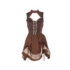 Brown Striped Dress with Faux Leather Detailing ❤ liked on Polyvore featuring dresses, brown lace dress, white dresses, brown dress, shirred lace dress and stripe dress