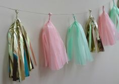 Pink Mint and Gold Tissue Tassel Garland  One by onestylishparty, $24.00